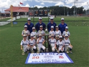 The Nationals 6U World Series champions are (Front Row, L to R): Carson Morgan, Avery Mapp, Fisher Evans, Levi Fowler, Reece Glasgow and Sawyer Kendrick. Middle row: Hunter Elmore, Caleb McAusland, Bryson Boyington, Davin Thornton, Jett Todd and Henry Smith. Back row: Head Coach Lee Evans, and Assistant Coaches Brian Boyington, Dusty Fowler and Russell Morgan.